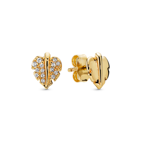 Pandora Shine Shining & Sparkling Leaf Stud Earrings
