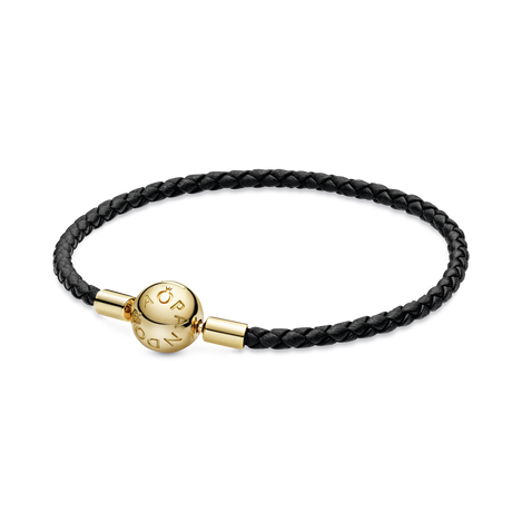 Pandora Moments Black Woven Leather Bracelet