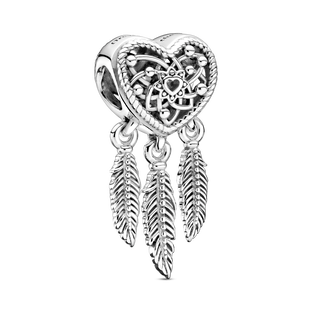 Openwork Heart & Three Feathers Dreamcatcher Charm