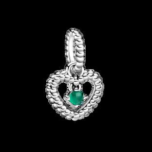 May Dark Green Heart Hanging Charm with Man-Made Dark Green Crystal