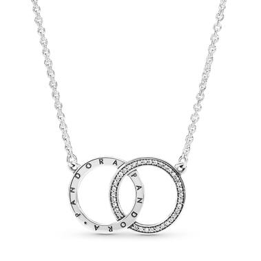 Entwined Circles Pandora Logo & Sparkle Collier Necklace